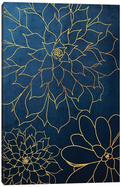 Navy Gold Succulent III Canvas Art Print