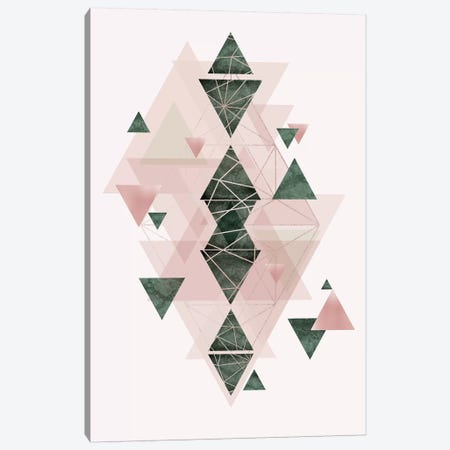 Pink Green Geometric III Canvas Print #URE178} by Urban Epiphany Canvas Art Print