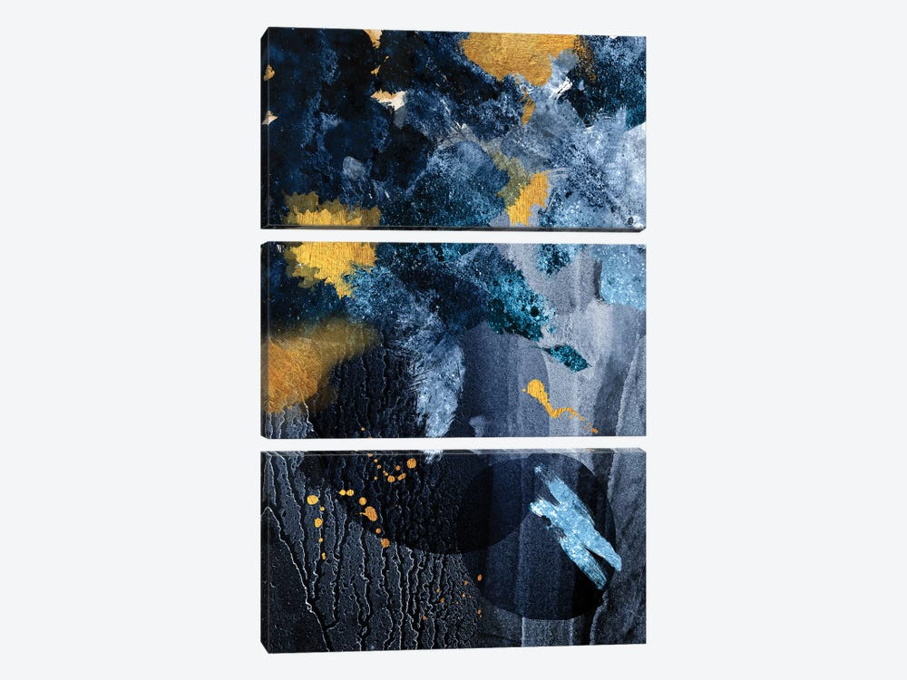 Abstract Blue and Gold by Urban Epiphany 3-piece Canvas Print