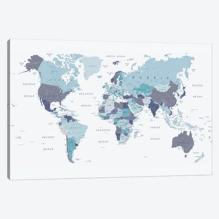 World Map Blue I Canvas Print #URE247} by Urban Epiphany Canvas Artwork