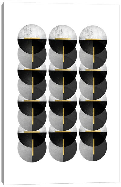 Black Grey Gold Circles Canvas Art Print