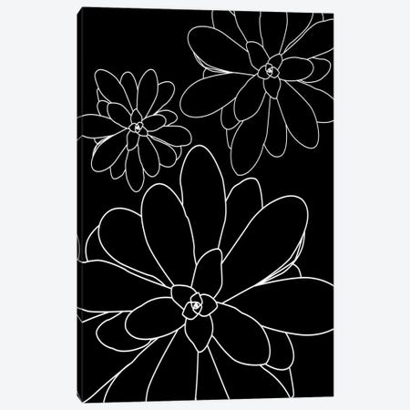 Black White LinedSucculents II Canvas Print #URE289} by Urban Epiphany Canvas Print