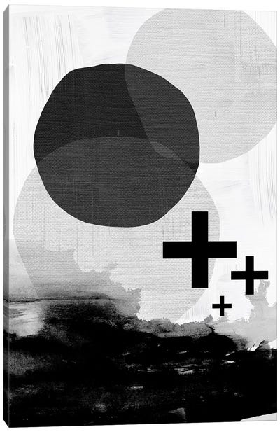 Black White Scandi Abstract Canvas Art Print
