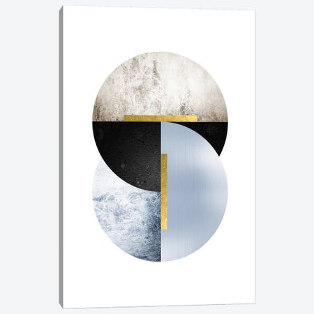 Blue Beige Black Geo Canvas Print #URE33} by Urban Epiphany Art Print