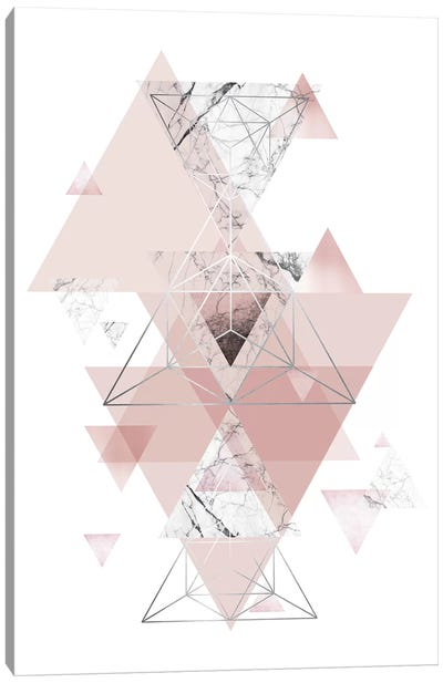 Blush Pink Marbled Geometric Canvas Art Print