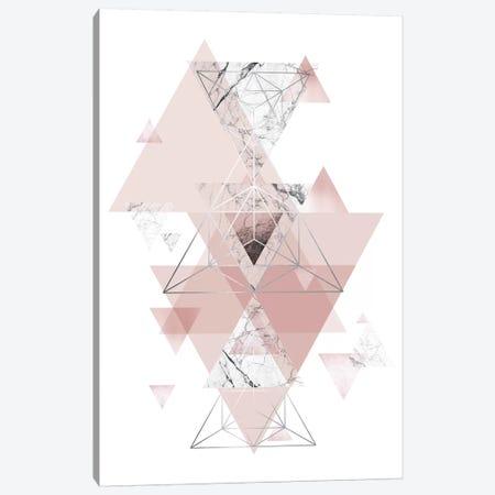 Blush Pink Marbled Geometric Canvas Print #URE36} by Urban Epiphany Canvas Artwork