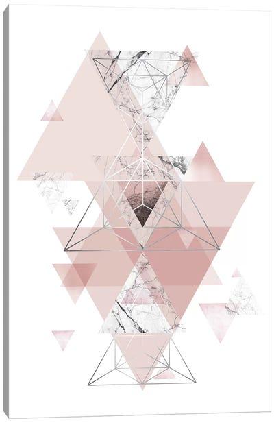 Blush Pink Marbled Geometric Canvas Art Print