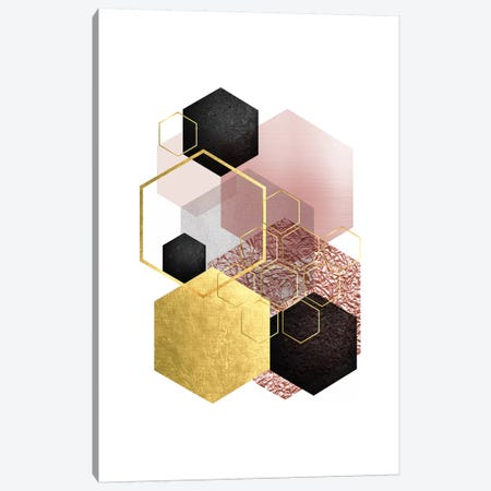 Blush Pink Gold II Canvas Print #URE41} by Urban Epiphany Canvas Wall Art