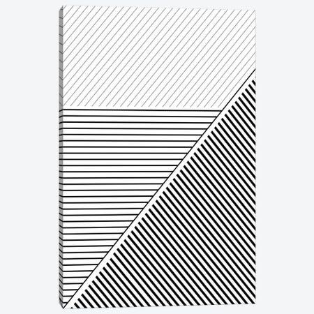 Black And White Geo Lines II Canvas Print #URE50} by Urban Epiphany Canvas Art Print
