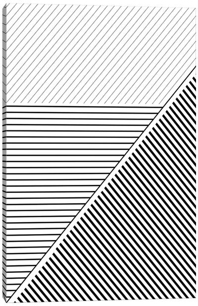 Black And White Geo Lines II Canvas Art Print