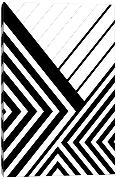 Black And White Geo Lines III Canvas Art Print