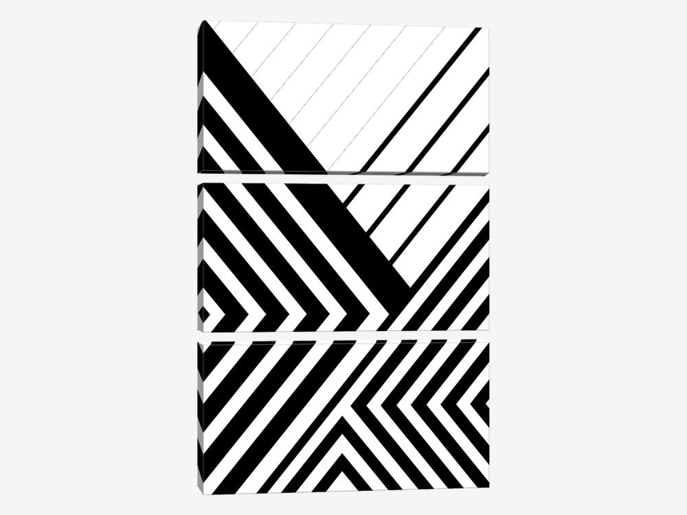 Black And White Geo Lines III by Urban Epiphany 3-piece Art Print