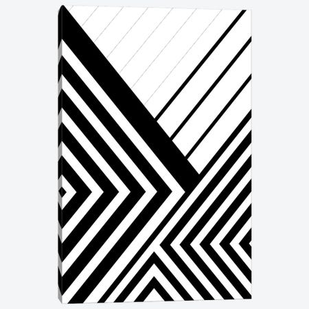Black And White Geo Lines III 3-Piece Canvas #URE51} by Urban Epiphany Art Print