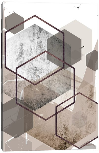 Abstract Hexagons Beige Canvas Art Print