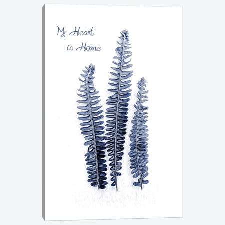 Fern Fronds Navy, Home  3-Piece Canvas #URE71} by Urban Epiphany Art Print