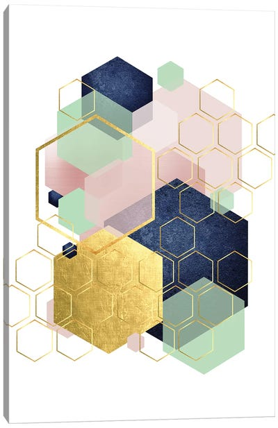 Gold Blush Navy Mint Hexagonal Canvas Art Print