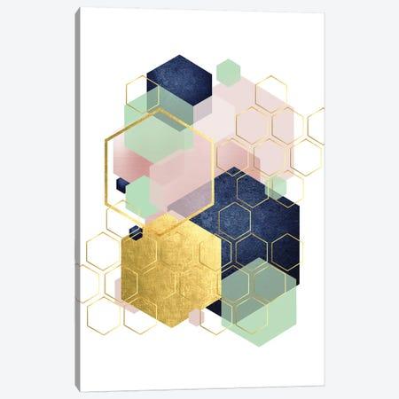 Gold Blush Navy Mint Hexagonal Canvas Print #URE86} by Urban Epiphany Canvas Print