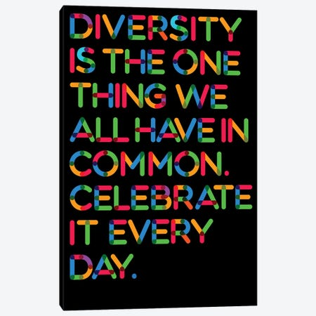 Diversity (Black Background) Canvas Print #USL106} by The Usual Designers Canvas Art Print