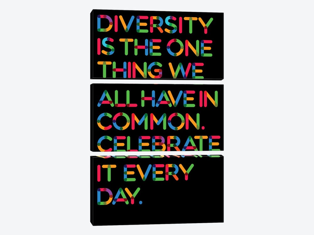 Diversity (Black Background) by The Usual Designers 3-piece Art Print
