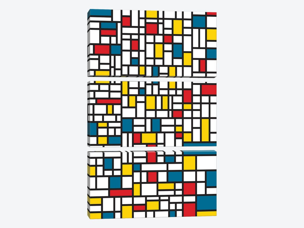 Mondrian Extreme by The Usual Designers 3-piece Canvas Artwork