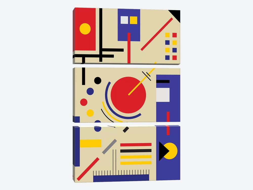 Bauhaus Astronomy by The Usual Designers 3-piece Canvas Print