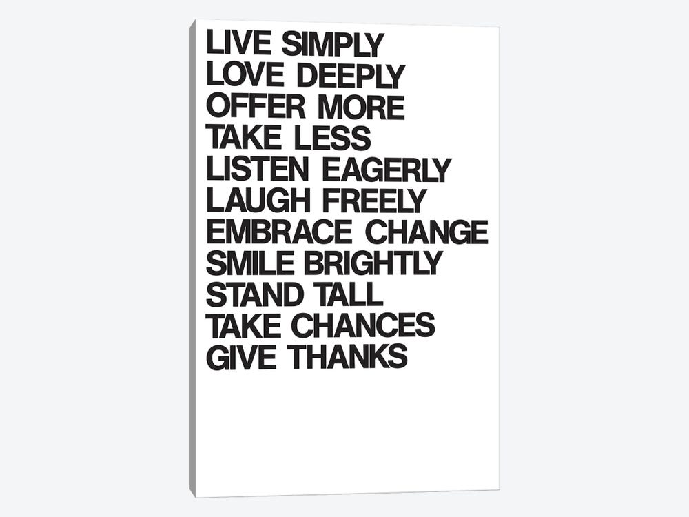 For A Better Life (Black On White) by The Usual Designers 1-piece Canvas Print