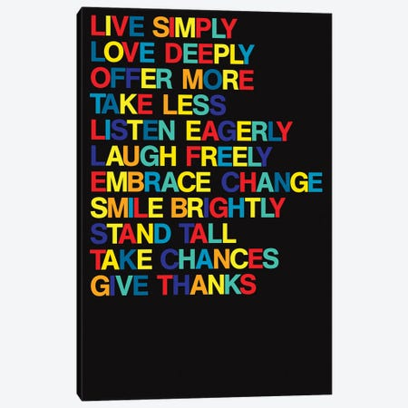 For A Better Life (Colors On Black) Canvas Print #USL134} by The Usual Designers Canvas Artwork