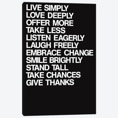 For A Better Life (White On Black) Canvas Print #USL136} by The Usual Designers Canvas Wall Art