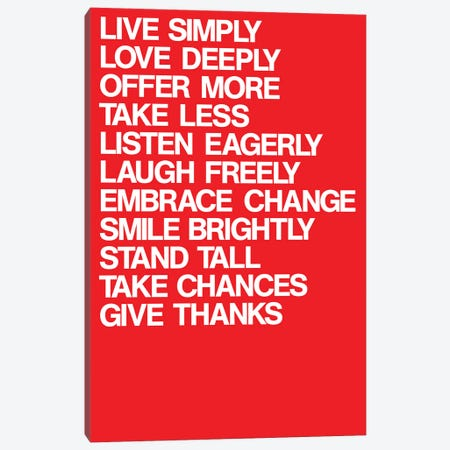 For A Better Life (White On Red) Canvas Print #USL137} by The Usual Designers Canvas Wall Art