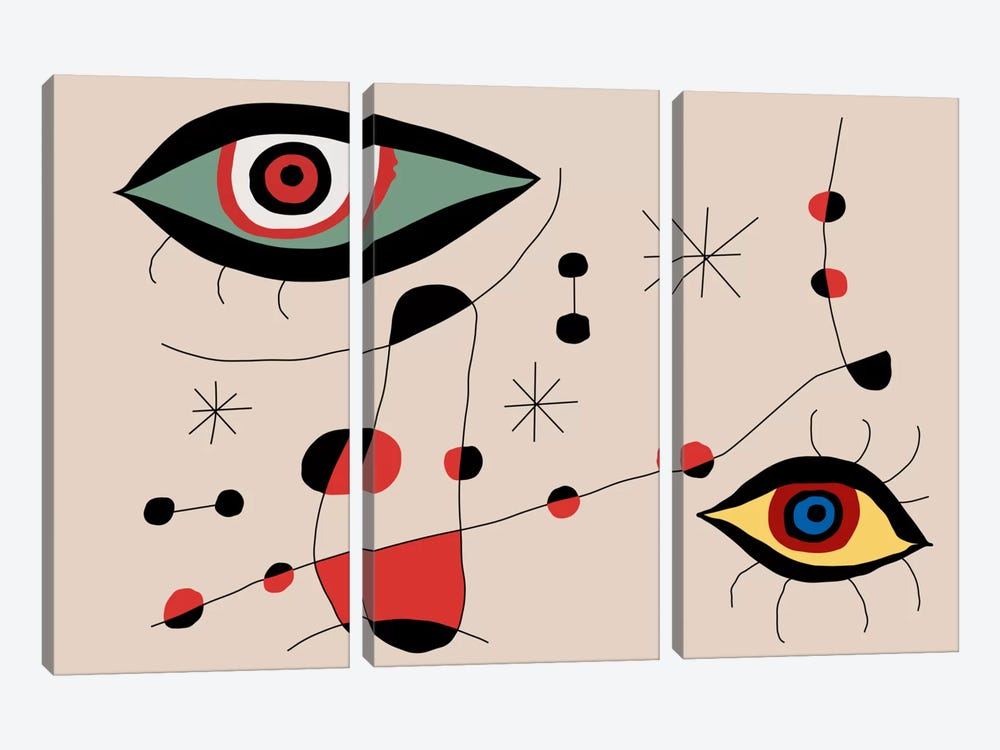 Tribute To Miro by The Usual Designers 3-piece Canvas Art Print