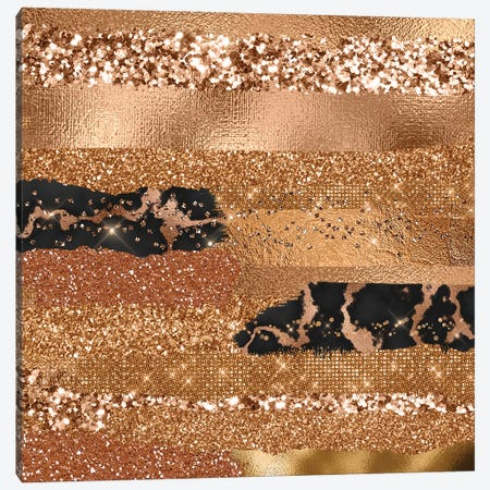 Gold Copper Trendy Girly Texture Canvas Print #UTA109} by UtArt Canvas Print