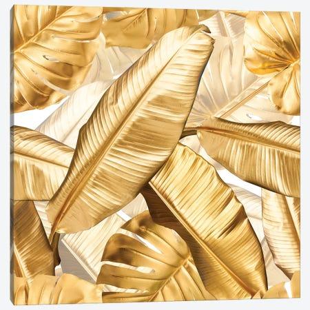 Golden Tropical Leaves Canvas Print #UTA114} by UtArt Art Print