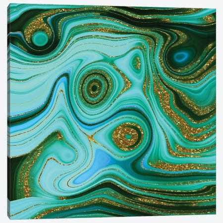 Green And Gold Malachite Canvas Print #UTA118} by UtArt Canvas Artwork
