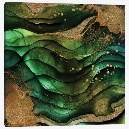 Green And Gold Marble Texture Canvas Print #UTA119} by UtArt Canvas Art