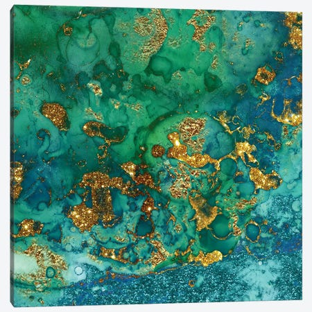 Green And Gold Marble Canvas Print #UTA120} by UtArt Canvas Print