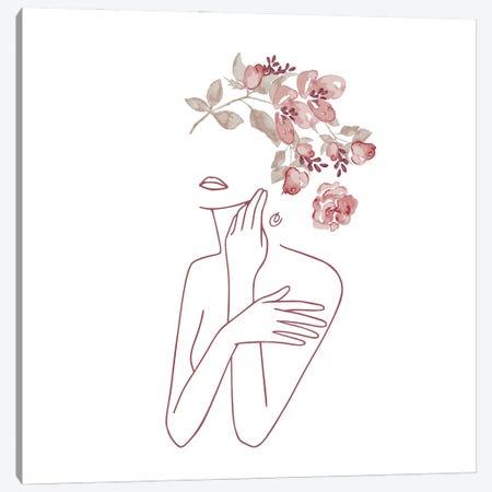 Lineart Dreaming Flower Girl.Png Canvas Print #UTA135} by UtArt Canvas Print
