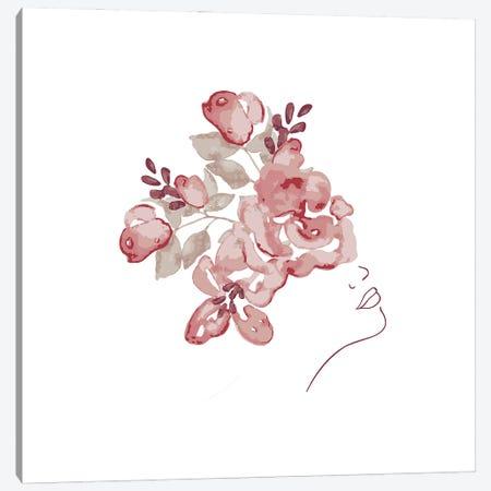 Lineart Flower Girl Canvas Print #UTA136} by UtArt Canvas Print