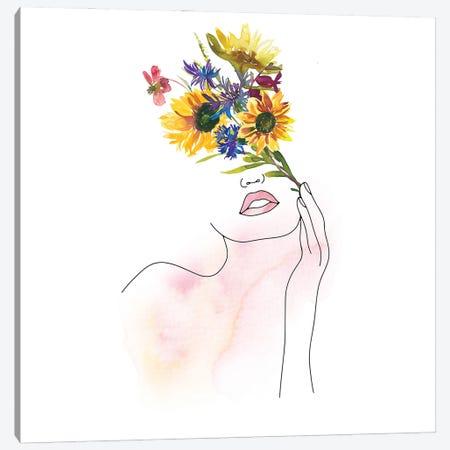 Lineart Girl With Midsummer Flower Bouquet Canvas Print #UTA138} by UtArt Canvas Wall Art