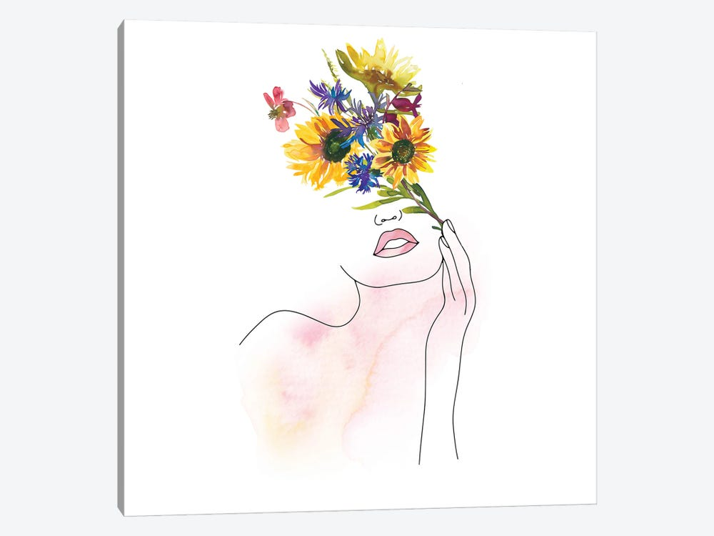 Lineart Girl With Midsummer Flower Bouquet by UtArt 1-piece Canvas Print