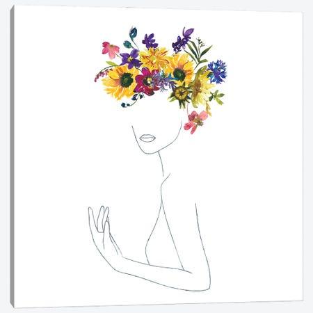 Lineart Girl With Midsummer Flower Wreath Canvas Print #UTA139} by UtArt Canvas Wall Art