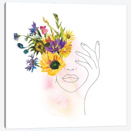 Lineart Girl With Midsummer Flowers Canvas Print #UTA140} by UtArt Art Print