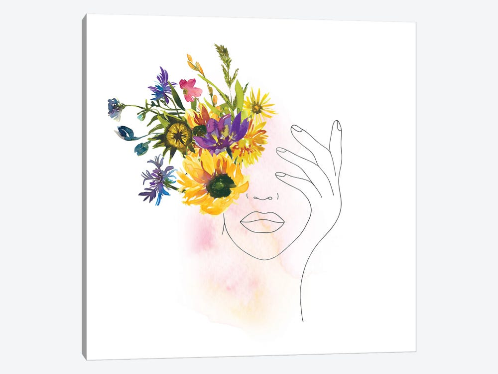 Lineart Girl With Midsummer Flowers by UtArt 1-piece Canvas Wall Art
