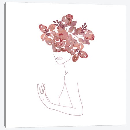Lineart Girls With Flower Wreath Canvas Print #UTA141} by UtArt Canvas Print