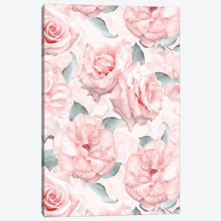 Lush Beautiful Real Pink Roses Pattern Canvas Print #UTA148} by UtArt Art Print