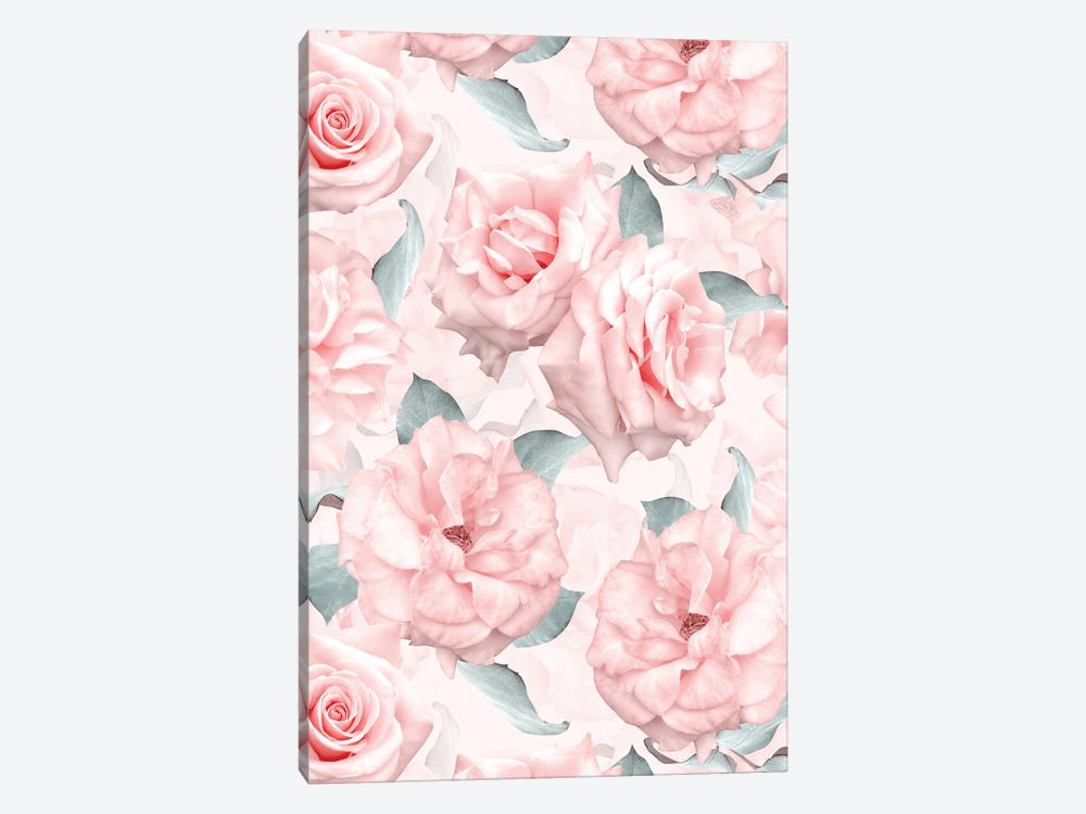 Lush Beautiful Real Pink Roses Pattern by UtArt 1-piece Canvas Wall Art