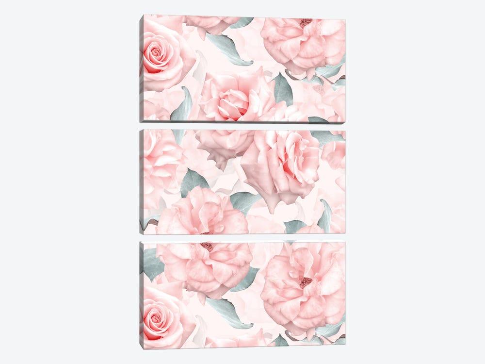 Lush Beautiful Real Pink Roses Pattern by UtArt 3-piece Canvas Wall Art