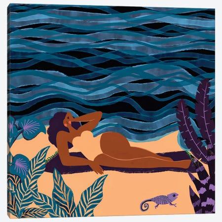 Modern Beautiful Woman At The Beach Canvas Print #UTA158} by UtArt Canvas Artwork