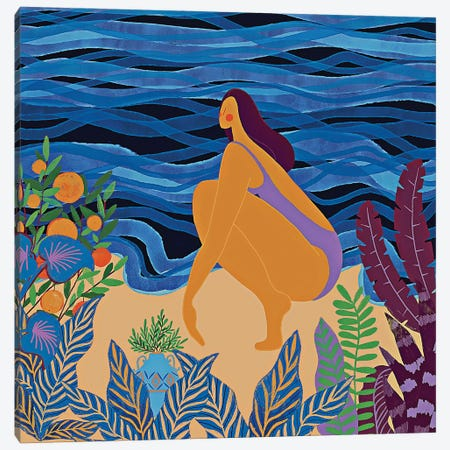 Modern Girl At The Beach Canvas Print #UTA167} by UtArt Canvas Wall Art