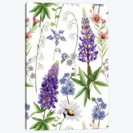 Nordic Watercolor Wildflowers Meadow I Canvas Print #UTA174} by UtArt Canvas Art Print