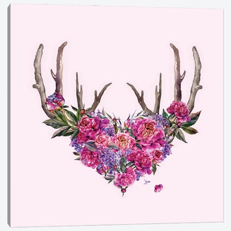 Pink Watercolor Flowers With Antlers Canvas Print #UTA185} by UtArt Canvas Wall Art